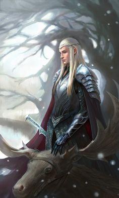 """Thranduil from """"The Hobbit"""" - Art by anima08 Elves Fantasy, Fantasy Life, High Fantasy, Fantasy Warrior, Fantasy Character Design, Character Art, Character Inspiration, The Hobbit Thranduil, Elf Warrior"""