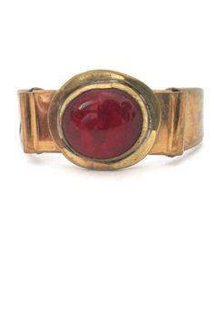 Rafael red cabochon hinged bracelet in brass Antique Jewelry, Vintage Jewelry, Bangle Bracelets, Bangles, Bohemia Jewelry, Handcrafted Jewelry, Jewelry Crafts, Gemstone Rings, Canada