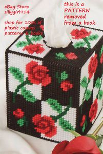 "Free Plastic Canvas Tissue Box Patterns | Roses Tissue Box Cover"" Plastic Canvas Pattern 