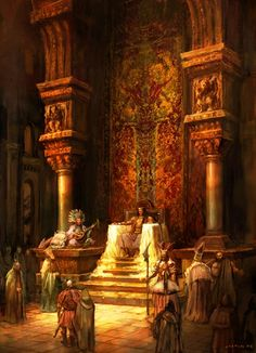 Throne room - love the rich warm color much more than the usual grey tones. Fantasy City, Fantasy Castle, Fantasy Places, Fantasy World, Dark Fantasy, Fantasy Concept Art, Fantasy Artwork, Throne Room, Fantasy Setting