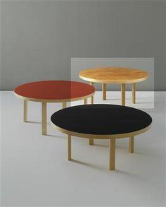 ALVAR AALTO                                        Rare and large 'L-Leg' coffee table, model no. 91, 1930s                                                                                    Elm-veneered wood, laminated-birch plywood.Manufactured by O.y. Huonekalu-ja Rakennustyötehdas A.b., Turku, for Artek.Largest: 59.9 cm (23 5/8 in) high, 126.2 cm (49 5/8 in) diameter.s4.7pds