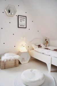 So stylish kids room in shades of white