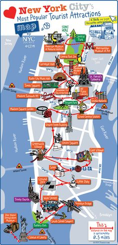 Manhattan (NYC) detailed map of most popular tourist attractions. Detailed map of most popular tourist attractions of Manhattan, NYC. Voyage Usa, Voyage New York, New York Vacation, New York City Travel, Map Of New York City, Visit New York City, New York Day Trip, New York City Museums, New York City Tumblr
