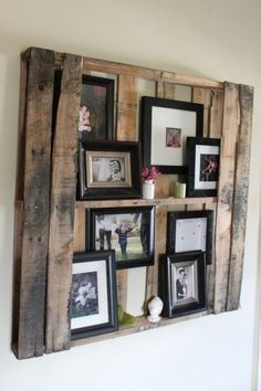 PALLET, hung up and now a photo cabinet.  ... I'm finding all sorts of barn-esque stuff lately... this is very clever.