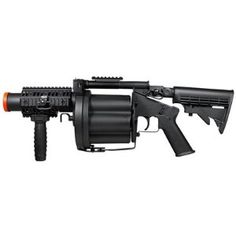 Gear up for the airsoft field with the MGL MK Grenade Gun. This six-shot grenade launcher has revolver construction. Paintball Field, Paintball Gear, Airsoft Gear, Tactical Gear, Airsoft Revolver, Airsoft Grenade, Pistola Nerf, Quad Rail, Guns And Ammo
