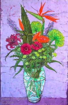 Floral batik art by Marina Elphick, UK artist specialising in batik portraits, flora and fauna.Batik flowers.