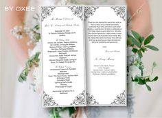 Printable Wedding ceremony programme template Silver, grey victorian style by Oxee, DIY, Editable in Word, $5.00