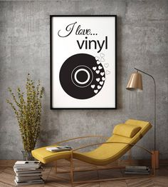 """Poster """"I love vinyl"""" * Love music * Vinyl * Beautiful poster * Black vinyl * Gift idea * Housewarming Gift * Home decor by MerryGallery on Etsy Living Room Decor, Bedroom Decor, Design Bedroom, Daybed Bedding, Art Above Bed, Bedroom Artwork, Vinyl Gifts, Beautiful Posters, Interior Design"""