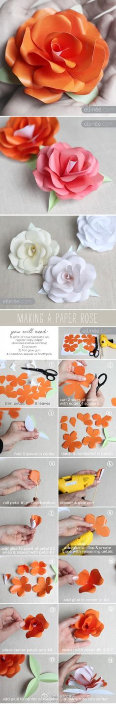 Paper Flower DIY 纸玫瑰DIY教程 - 顽兔