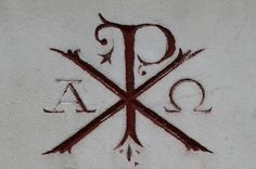 An Alpha and Omega with the Chi-Rho symbol (The first two letters in the Greek word Christos, meaning Christ). Description from pinterest.com. I searched for this on bing.com/images