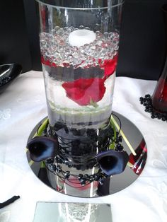 Floating Rose with Black Calla for the Head table of Princess Bride