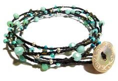 Black Irish Waxed Linen, Faceted Amazonite Gemstones, and Sterling Silver Wrap Bracelet- Jewelry by Leandra (Walking on a Dream)