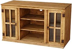 The Andrea Tv Stand Features Extra Tall Gl Door Cabinets With Interior Shelves Perfect Rustic Pine
