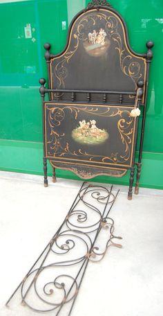 Letto in ferro pieno dipinto sponde lunghe 152 cm (da ragazzo) seconda metà '800