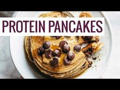 Protein Pancakes! super easy with no refined grains or refined sugar. just oats, banana, eggs, baking powder, and protein powder.