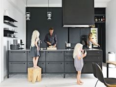 Photo 30 of 62 in 60 Kitchen Island Ideas That Serve Up Style and Functionality from Converted Loft Fit for a Modern Family in Copenhagen - Dwell Black Kitchens, Home Kitchens, Kitchen Black, Modern Kitchens, Charcoal Kitchen, Modern Kitchen Counters, Kitchen Cabinets With Legs, Kitchen Island, Kitchen Appliances