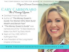 Get ready ladies for a powerful series that will change your LIFE! !! I sit with some powerful, multiple 7-figure #women leaders to discuss their journey and their WHY. These discussions are powerful and will shift your mindset around money and executing big ideas. First up, my friend Cary Carbonaro, The Money Queen and financial guru weekdays on WPIX 11news stops by to share her journey. Details are on the way at www.theconfidencefactorforwomen.com next week.