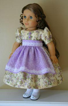 Lavender Dress and Apron fits 18 American Girl Dolls, Marie Grace, Cecile - 1850s Historical Clothes, venise lace trm via Etsy