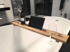 Wooden Bath Caddy Tuba - Bath Tray - Relaxing - gift for him or her - for the bathroom - Tablet stand - Book stand - Singles day Bath Rails, Balustrades, Wooden Bath, Relaxation Gifts, Book Stands, Tablet Stand, Bath Caddy, Wood Turning, Solid Oak