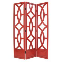 "Add a chic touch of style to your home with this eye-catching design, artfully crafted for lasting appeal.  Product: Room divider     Construction Material: Solid birchwood     Color: Red     Features:       Three panels    Hand-carved      Hand-finished      Antiqued with a smooth finish      Dimensions: 76"" H x 54"" W"