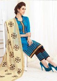 Daily Wear Blue Cotton Resham Work Salwar Kameez