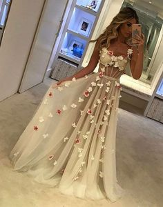 Prom Dress For Teens, Spaghetti Straps See Through Long A-Line Ivory Prom Dresses With Appliques, cheap prom dresses, beautiful dresses for prom. Best prom gowns online to make you the spotlight for special occasions. Ivory Prom Dresses, Unique Prom Dresses, Tulle Prom Dress, Cheap Dresses, Pretty Dresses, Beautiful Dresses, Prom Gowns, Long Dresses, Prom Dresses Flowers