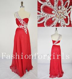 2013 One Shoulder Sweetheart with Beading Chiffon Long Red Prom Evening Dresses
