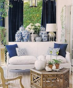 Blue and white are elegant and classic decor staples