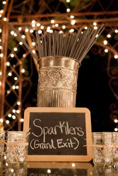 Great display for sparklers.  Like the faceted mason jars too, would really create extra sparkle!