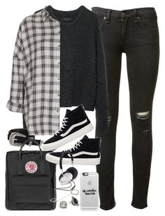 """""""Outfit for uni with Vans and a flannel"""" by ferned on Polyvore featuring rag & bone, Casetify, ASOS, Topshop, Fjällräven, Vans and Forever 21"""