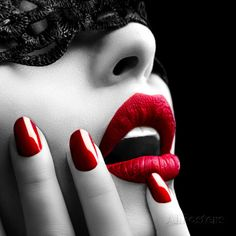 Beautiful Woman with Black Lace mask over her Eyes. Red Sexy Lips and Nails closeup. Manicure and Makeup. Black And White Painting, Black White Red, Art Noir, Image 3d, Lace Mask, Acrylic Wall Art, Acrylic Canvas, Diy Canvas, Canvas Art
