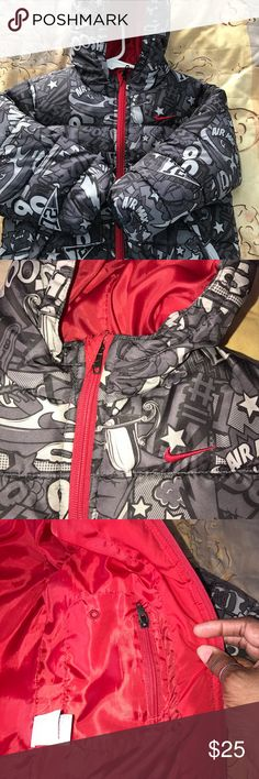Nike swoosh puffer coat Nike hooded puffer coat in very good used condition, no stains, pulls, fading or discoloration, 2 outside pockets one on each side and a inside pocket that zips. From a smoke and pet free home! Nike Jackets & Coats Puffers