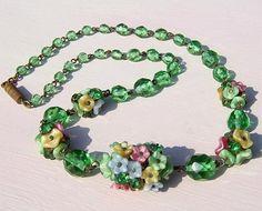 czech vintage glass flower cluster necklace