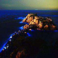 台湾の離島「馬祖」の海辺で毎年4月~9月に見られる神秘的な青色の発光の現象。またの名を「青の涙」ともいい、海水のエネルギーを頼りに生きる海底に住む微生物によるものなんだとか。