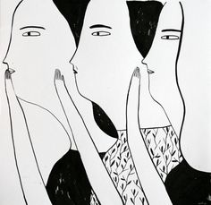 Original art for sale on pabloundpaul.de | Three women, 2014 by Alina Vergnano | 40x42 cm 490,00€