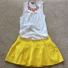 """J. Crew Swish Skirt J. Crew swish skirt. A flouncy cotton linen mix in the color lemon. Super cute for a day out at the beach or a stroll thru the city. Lined. Approx 16.5"""" long. 63 cotton 37 linen. Size 2. NWT, never worn. J. Crew Skirts"""