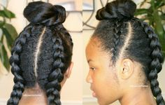 Keep your big girls hair cute too...click here for tutorial http://www.browngirlsstyle.com/top-bun-cornrows-hairstyle/#hairstyles #girls #naturalhairstruggles