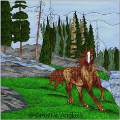 Stained Glass Horse Window - Wood Framed Stained Glass Panel | CreativeArtglass - Glass on ArtFire