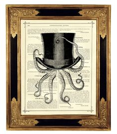 Octopus wearing a Top Hat - Vintage Victorian Book Page Art