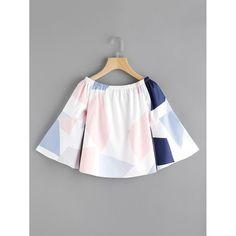 Random Geo Print Boat Neckline Flute Sleeve Top  #girl #beautiful #style #ootd #outfitoftheday #fashion