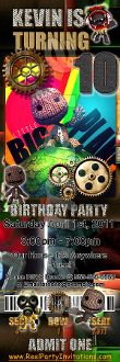 LITTLE BIG PLANET TICKET STYLE INVITATIONS (WITH ENVELOPES)