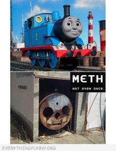funny caption thomas the train meth