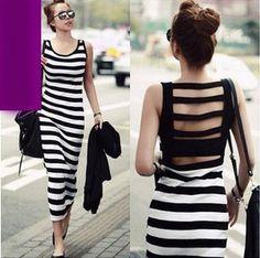 Korean striped maxi dress