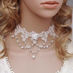 White lace pearl flower necklace collapsibility belt bride and bridesmaids wedding accessories on AliExpress.com. $15.14