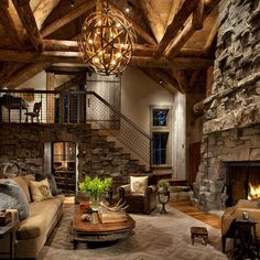 Living Room Log Cabin Kitchens Design, Pictures, Remodel, Decor and Ideas - page 3