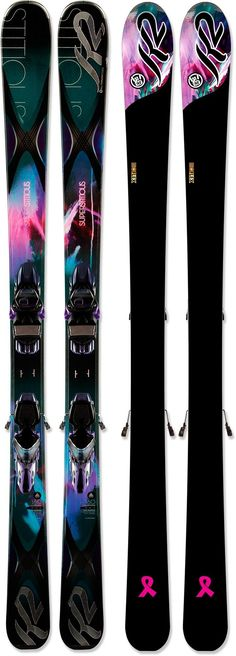 Bolstered with a stabilizing metal laminate built into the core, the advanced-level women's K2 SuperStitious 84 skis with bindings enhance confidence at high speeds on any type of snow.