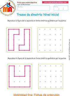 Ejercicio9: Copialos trazos y las formasdemanerasimétrica guiándote por los puntos.Actividadesescolares de trazos de simetría.