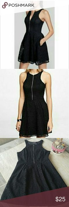 """Express Black Lace Dress Express dress in black lace. With pockets. Size 12. Fully lined. Shell: 100% Nylon. Lining: 95% Polyester, 5% Spandex. When laying flat, fully zippered, 36""""long. Across chest from armpit to armpit is approximately 18"""". Side zipper. No damage or defects. Comes from a smoke free home. Final price unless bundled. No trades, no holds, thank you. Express Dresses Midi"""