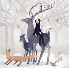 Girl, deer, fox, squirrel, birds, bunny, snow, forest, by tono