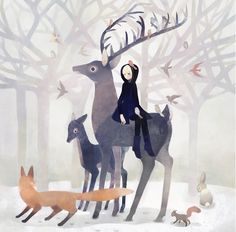 Girl, deer, fox, squirrel, birds, bunny, snow, forest, by tono